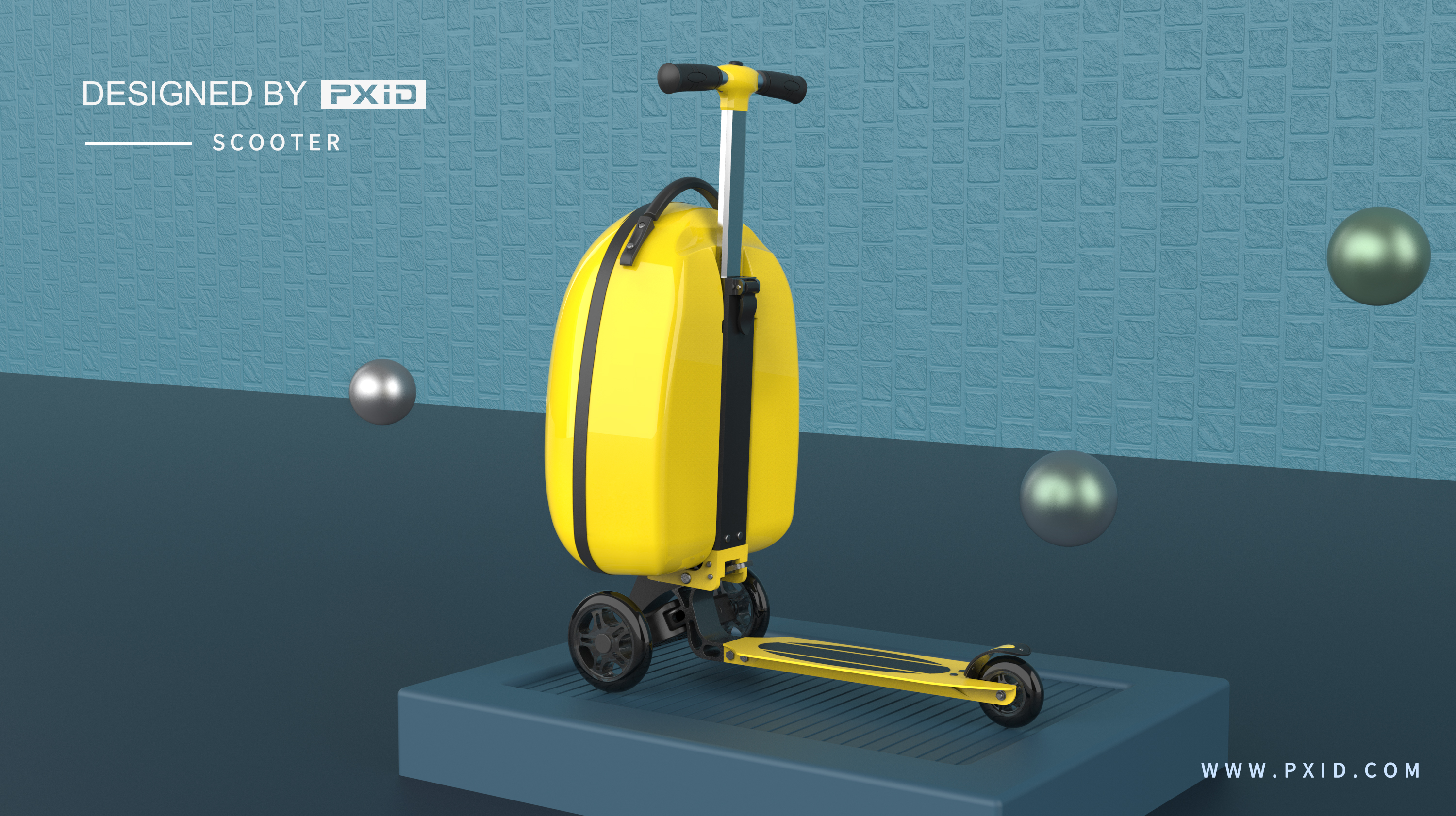 Children's luggage electric scooter design